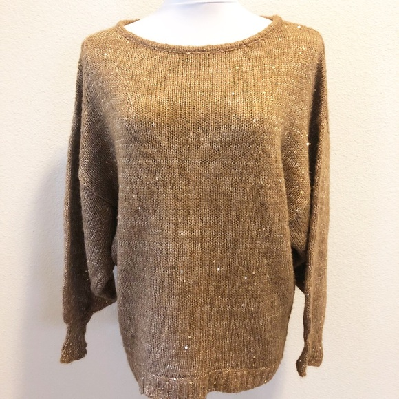 Sanctuary Sweaters Gold Alpaca Blend Shimmer Sweater Poshmark